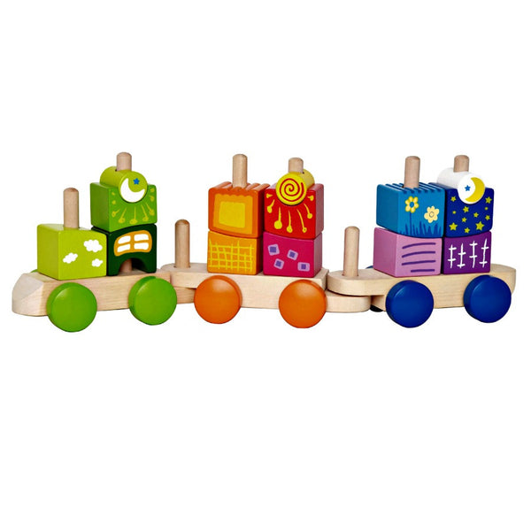 Hape - Fantasia Stacking Block Train | KidzInc Australia | Online Educational Toy Store