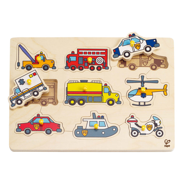 Hape - Emergency Vehicle Peg Puzzle | KidzInc Australia | Online Educational Toy Store