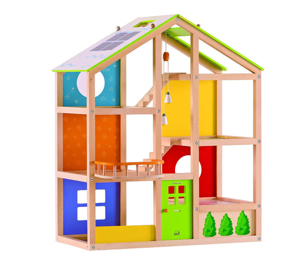 Hape - All Season Dollhouse (Unfurnished) | KidzInc Australia | Online Educational Toy Store