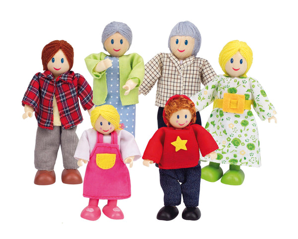 Hape -  Wooden Dolls Caucasian Family (Set of 6) | KidzInc Australia | Online Educational Toy Store