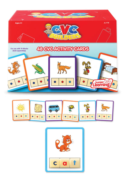 Junior Learning - CVC Builders Activity Cards | KidzInc Australia | Online Educational Toy Store