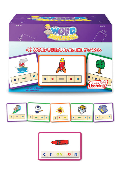 Junior Learning - Word Builders Activity Cards | KidzInc Australia | Online Educational Toy Store
