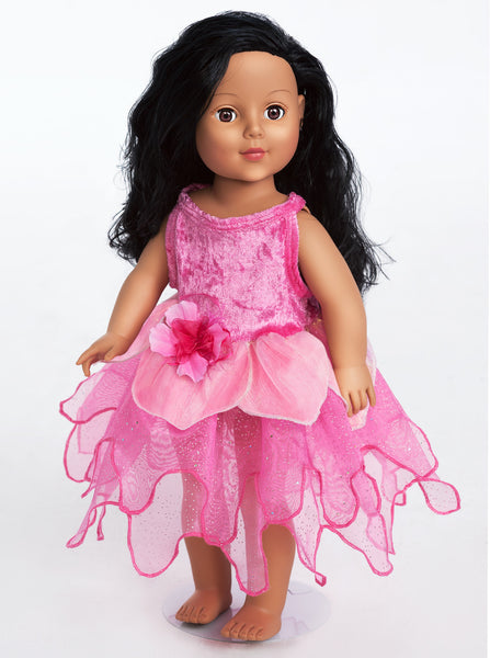 Little Adventures - Hot Pink Tulip Fairy Doll Dress | KidzInc Australia | Online Educational Toy Store