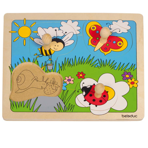 Beleduc - Meadow Large Knob Puzzle | KidzInc Australia | Online Educational Toy Store