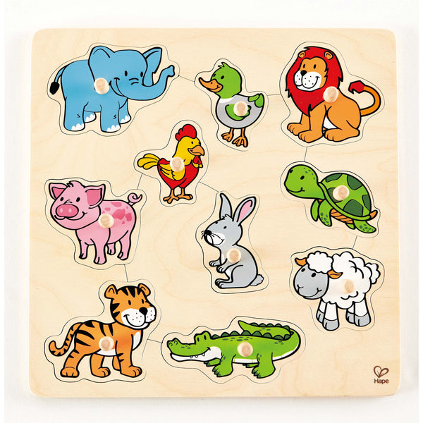 Hape - Inlay Board Animals | KidzInc Australia | Online Educational Toy Store