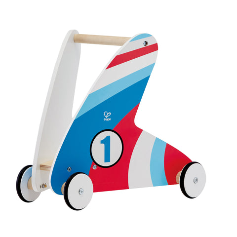 Hape - Step & Stroll Racing Stripes Wooden Walker | KidzInc Australia | Online Educational Toy Store