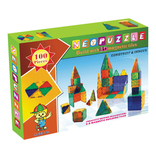 Neopuzzle Magnetic Tiles 100 Piece Set | KidzInc Australia | Online Educational Toys