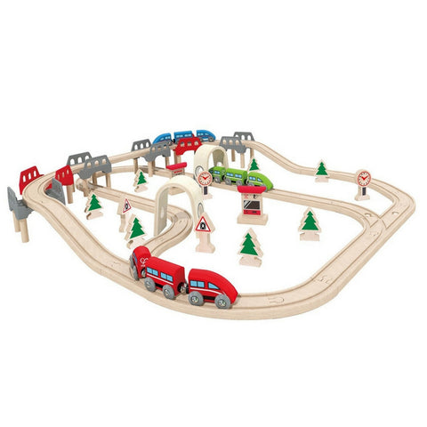 Hape - High & Low Railway Wooden Train Set | KidzInc Australia | Online Educational Toy Store