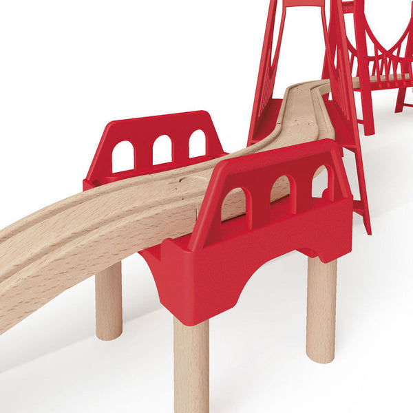 Hape - Railway Extended Double Suspension Bridge Train Set | KidzInc Australia | Online Educational Toy Store