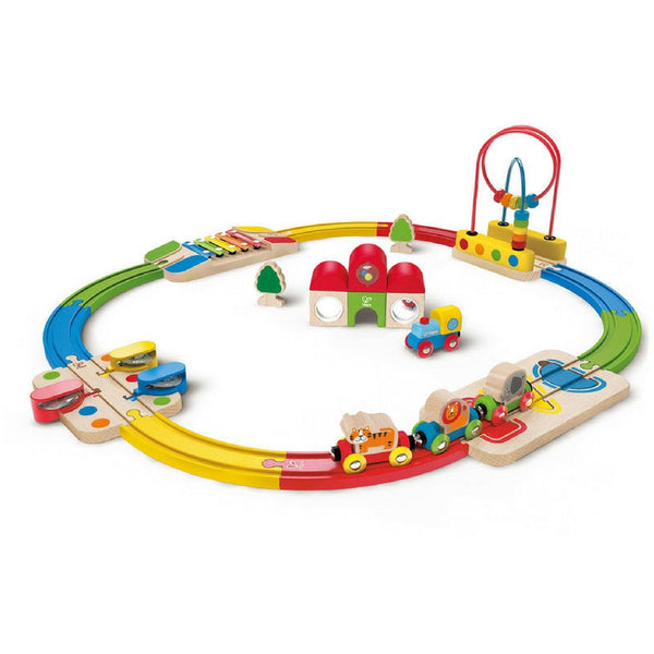 Hape - Musical Rainbow Route Railway and Station Set | KidzInc Australia | Online Educational Toy Store