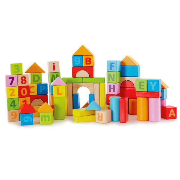 Hape - Beech Wood Count and Spell Blocks 80 Pieces | KidzInc Australia | Online Educational Toy Store
