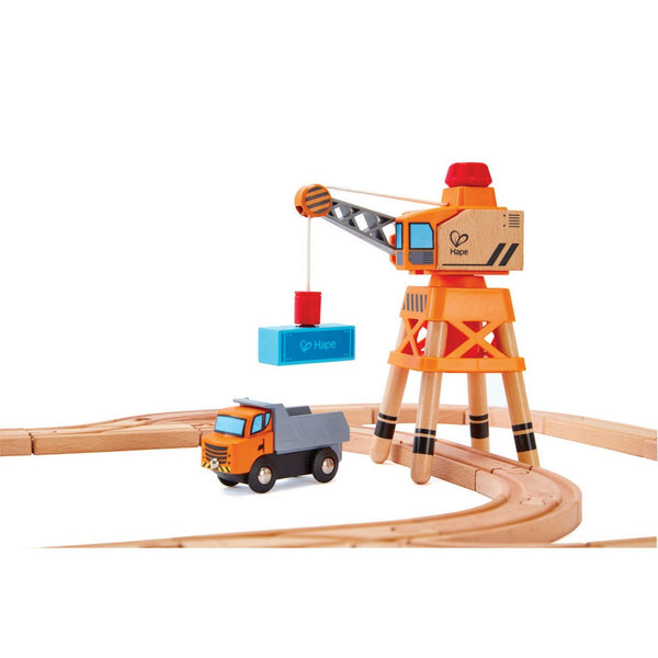 Hape - Railway Large Boom Crane | KidzInc Australia | Online Educational Toy Store