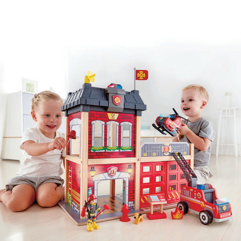 Hape - Fire Station (New Design 2018) | KidzInc Australia | Online Educational Toy Store