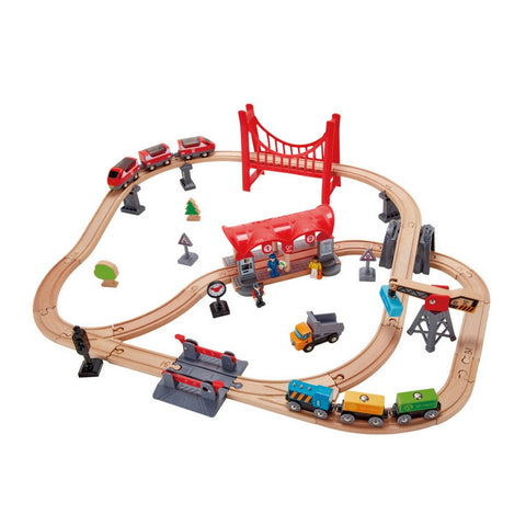 Hape - Busy City Rail Set Wooden Train Set | KidzInc Australia | Online Educational Toy Store