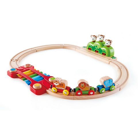 Hape - Music and Monkeys Railway Wooden Train Set | KidzInc Australia | Online Educational Toy Store