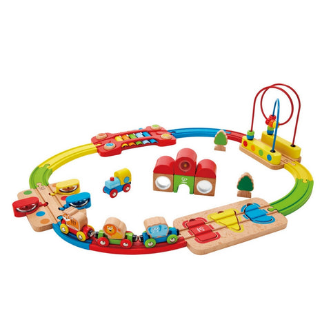 Hape - Rainbow Puzzle Railway Wooden Train Set | KidzInc Australia | Online Educational Toy Store