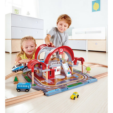 Hape - Grand City Station Train Set | KidzInc Australia | Online Educational Toy Store