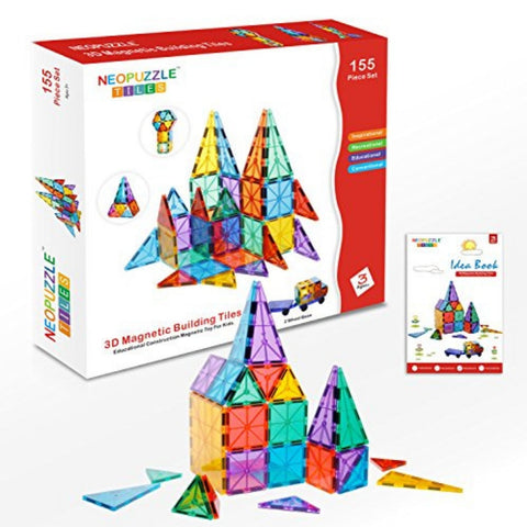 Neopuzzle Magnetic Tiles Clear Colours 155 Pc Set | KidzInc Australia | Online Educational Toys