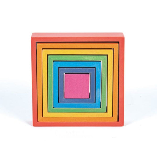 TickiT Rainbow Architect Squares Wooden Blocks | KidzInc Australia | Online Educational Toys