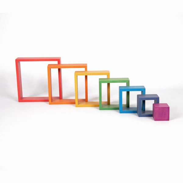 TickiT Rainbow Architect Squares Wooden Blocks | KidzInc Australia | Online Educational Toys 2
