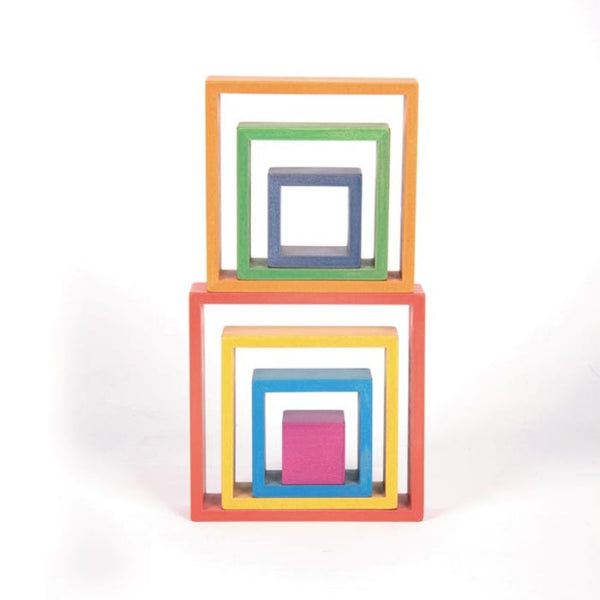 TickiT Rainbow Architect Squares Wooden Blocks | KidzInc Australia | Online Educational Toys 4