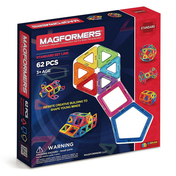 Magformers Basic Set 62 Piece Set | Magnetic Tiles | KidzInc Australia