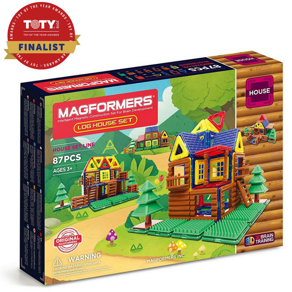Magformers Log House Set 87 Pieces |Magnetic Construction Toy| KidzInc