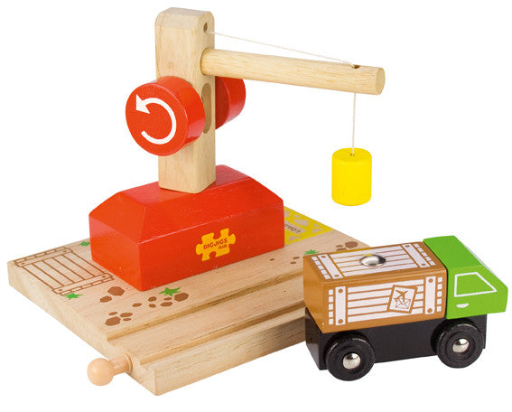 Bigjigs - Crane, Rail & Lorry | KidzInc Australia | Online Educational Toy Store