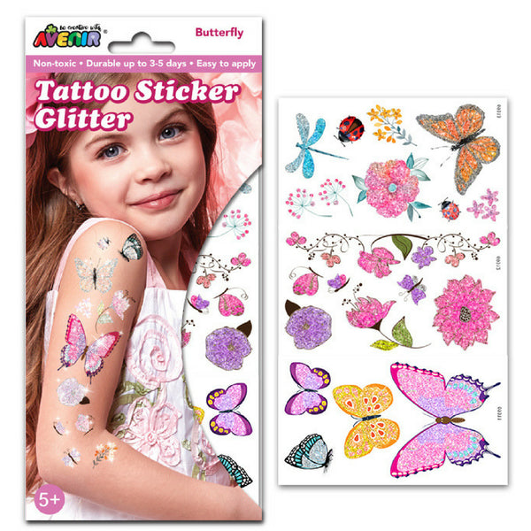 Avenir Tattoo Glitter Sticker Set: Butterfly | KidzInc Australia
