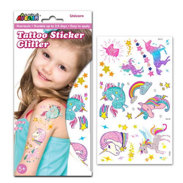 Avenir Tattoo Glitter Sticker Set: Unicorns | KidzInc Australia