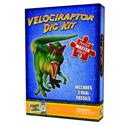 Discover with Dr Cool - Velociraptor Dinosaur Dig Kit and Puzzle | KidzInc Australia | Online Educational Toy Store