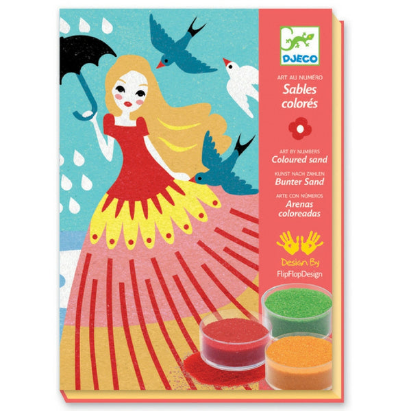 Djeco - Coloured Sand Art By Numbers: Girls' Day Out | KidzInc Australia | Online Educational Toy Store