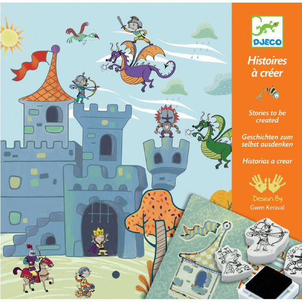 Djeco - Knights Create A Story Stamp and Stencil Kit | KidzInc Australia | Online Educational Toy Store