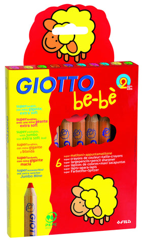 Giotto - Be-Be Super Jumbo Coloured Pencils (Packet of 6) | KidzInc Australia | Online Educational Toy Store