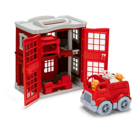 Green Toys - Fire Station Playset | KidzInc Australia | Online Educational Toy Store