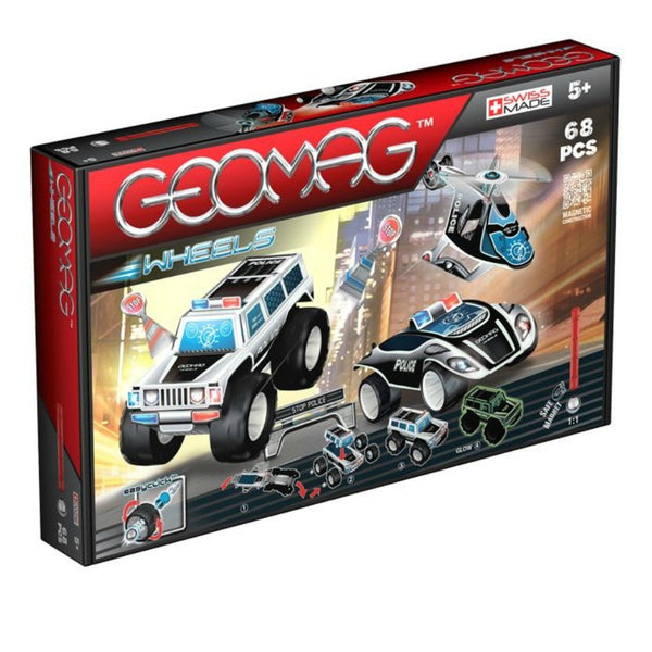 GeoMag Wheels Police Squad 68 Pieces | KidzInc Australia | Online Educational Toy Store