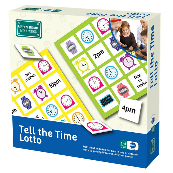 Green Board Education - Tell The Time Lotto Game | KidzInc Australia | Online Educational Toy Store
