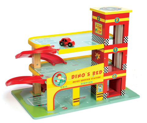 Le Toy Van - Dino's Red Garage | KidzInc Australia | Online Educational Toy Store