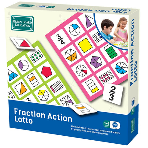 Green Board Education - Fraction Action Lotto | KidzInc Australia | Online Educational Toy Store