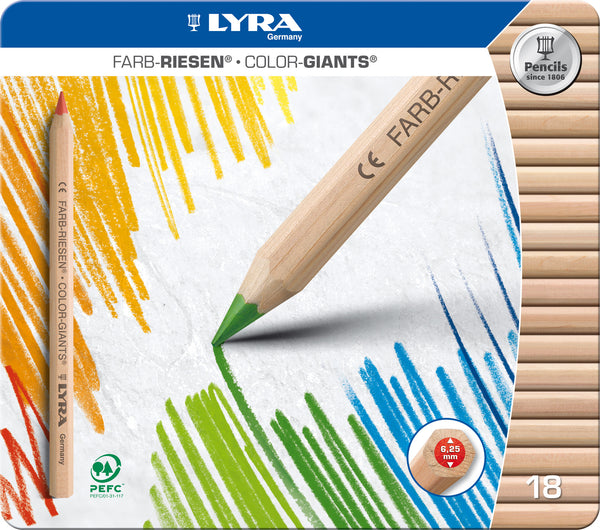 Lyra - Colour Giants Pencils (18 in Tin) | KidzInc Australia | Online Educational Toy Store