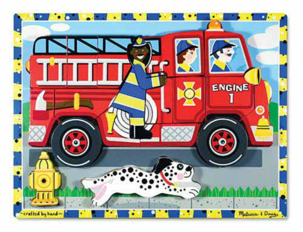 Melissa & Doug Chunky Puzzle - Fire Truck | KidzInc Australia | Online Educational Toy Store