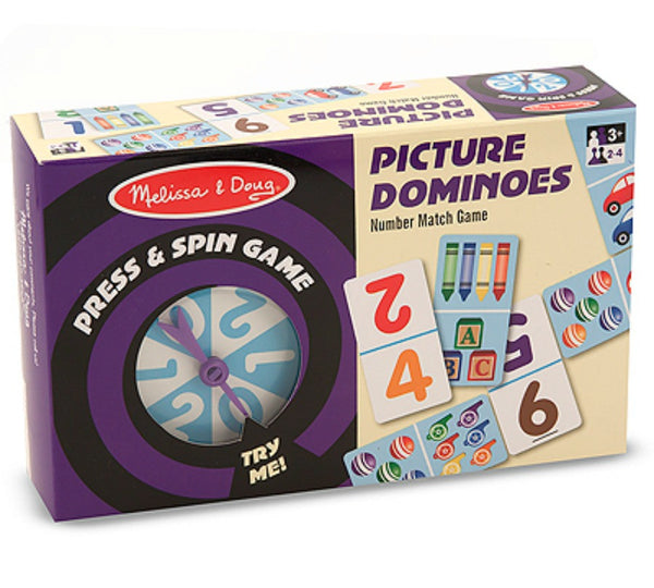 Melissa & Doug - Press & Spin Game Picture Dominoes | KidzInc Australia | Online Educational Toy Store