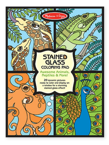 Melissa & Doug - Stained Glass Colouring Pad - Animals | KidzInc Australia | Online Educational Toy Store