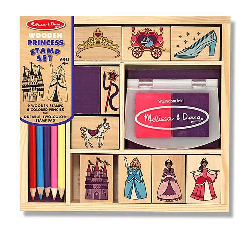 Melissa & Doug - Wooden Princess Stamp Set | KidzInc Australia | Online Educational Toy Store