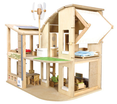 Plan Toys - Green Dollhouse with Furniture | KidzInc Australia | Online Educational Toy Store
