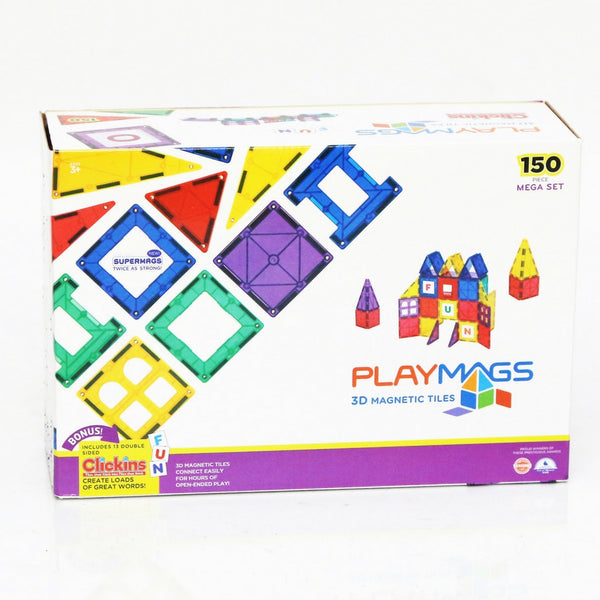 Playmags - Super Stronger Magnets Clear Colours 150 Piece Set + 18 piece Clickins | KidzInc Australia | Online Educational Toy Store