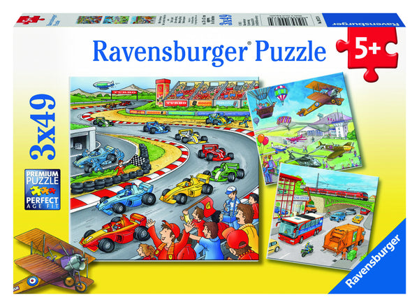 Ravensburger 3x49 pc - Moving Vehicles Puzzle | KidzInc Australia | Online Educational Toy Store