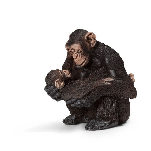Schleich - Chimpanzee female with baby | KidzInc Australia | Online Educational Toy Store