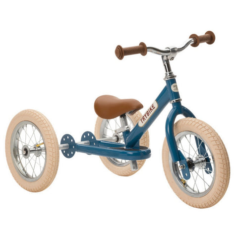 Trybike Blue Vintage Trybike Cream Tyres and Chrome |KidzInc Australia | Online Educational Toys