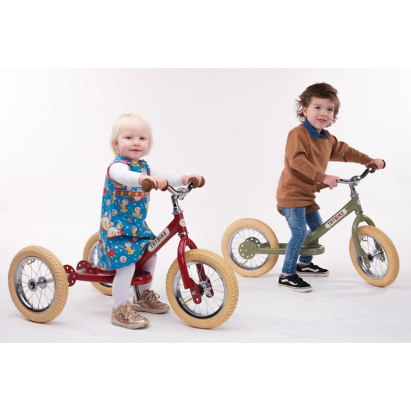 Trybike Red Vintage with Cream Tyres and Chrome (3 wheel) | KidzInc Australia | Online Educational Toys